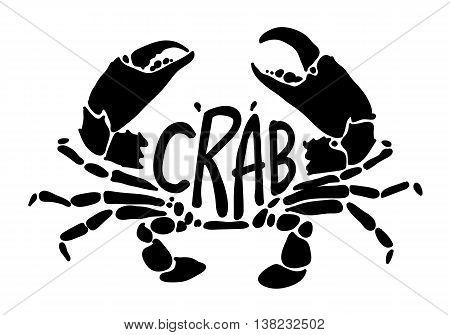 clip art black crab on white background, EPS 10