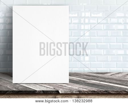 Black White Paper Poster Lean At White Ceramic Tile Wall And Tropical Wood Table,template Mock Up Fo