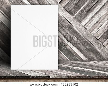 Black White Paper Poster Lean At Tropical Wood Wall And Tropical Wood Table,template Mock Up For Add