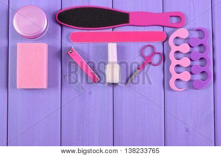Cosmetics And Accessories For Manicure Or Pedicure, Concept Of Foot, Hand And Nail Care, Copy Space