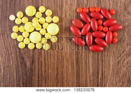 Medical Pills And Capsules, Health Care Concept, Copy Space For Text