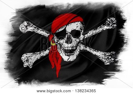 Pirate flag on plain background