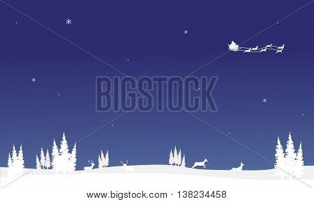 At nigh santa sleigh of silhouette Chrismas backgrounds vector