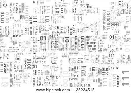 Illustration of binary code pattern on white background.