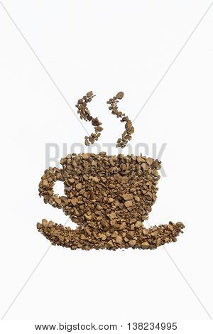 closeup of instant coffee cup on white background