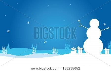 Christmas snowman and gift scenery backgrounds illustration