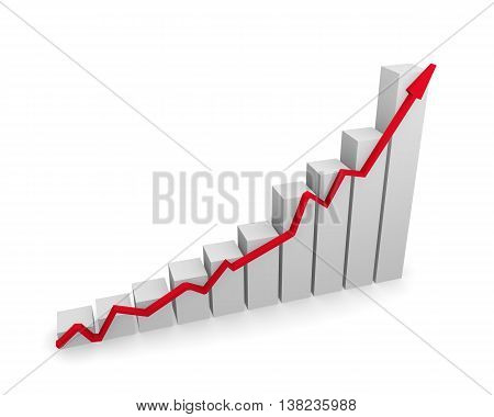 Business graph with red upswing arrow on a white background 3d rendering