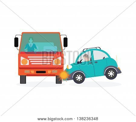 Car crash accident car isolated on white background conceptual Vector Illustration.