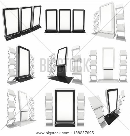 LCD Screen Stand Set. Blank Trade Show Booth Collection. 3d render of lcd screen isolated on white background. High Resolution. Ad template for your expo design.