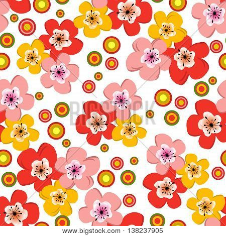 Seamless floral spring pattern with colorful flowers and balls. Without background. Vector