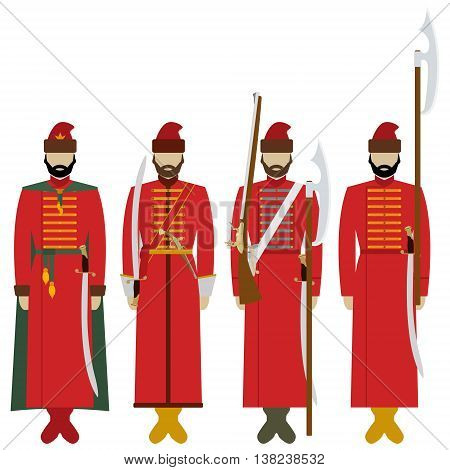 Uniforms and weapons archers in imperial Russia. The illustration on a white background.