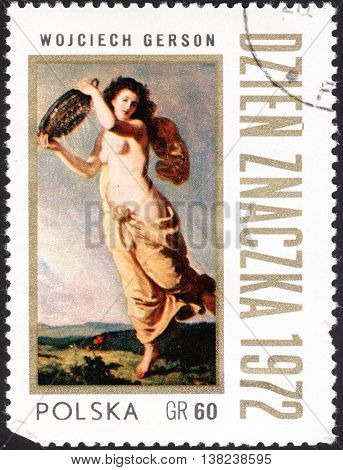 MOSCOW RUSSIA - JANUARY 2016: a post stamp printed in POLAND shows the painting