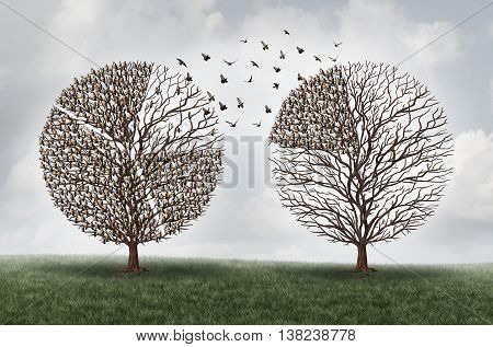 Transferring commerce business financial concept as a tree with a group of birds shaped as a finance pie chart diagram making a move to another location as an economic trade symbol with 3D illustration elements.
