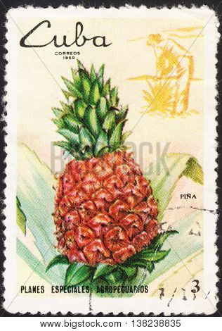 MOSCOW RUSSIA - DECEMBER 2015: a post stamp printed in CUBA shows a pineapple