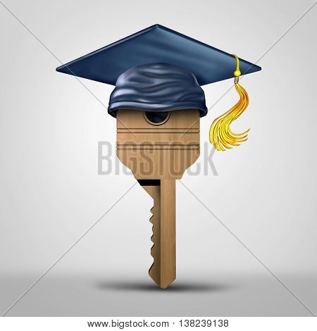 Education key symbol representing learning success or graduating student metaphor as a tool to open a lock object as a 3D illustration.