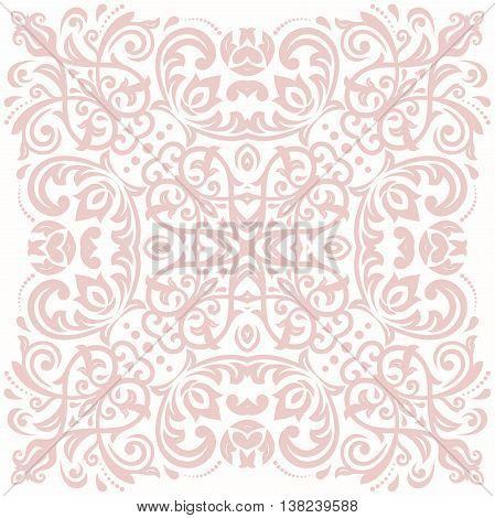 Oriental pattern with arabesques and floral elements. Traditional classic light pink ornament