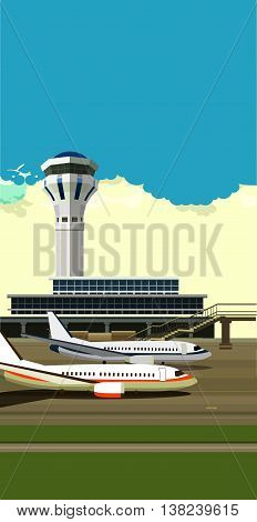 vector illustration of a building near the airport runway and aircraft