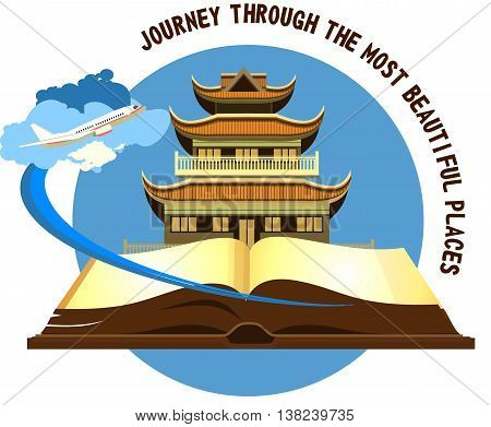 open book historical sites Buddhist temple on a white background airplane flying in the sky