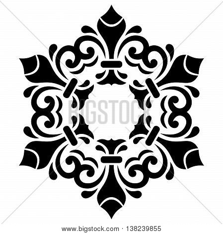 Oriental pattern with arabesques and floral elements. Traditional classic black and white round ornament