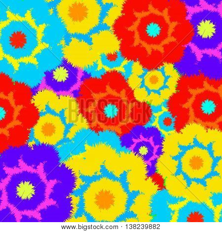 Multi-colored furry flowers. Exotic abstract colors for background or pattern. Vector illustration.