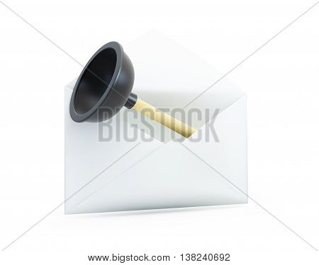 open letter with a plunger 3D illustrationon a white background