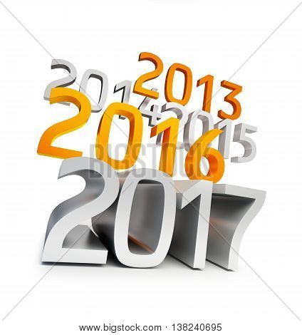 happy new year 2017. 3d Illustrations on a white background