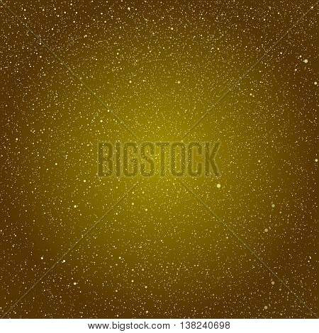 Vector background with snowflakes. Gold ice storm.