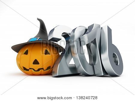 holiday halloween in 2016. 3d Illustrations on a white background