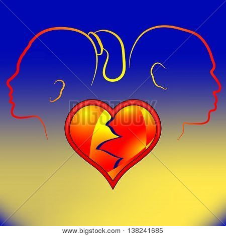 Volumetric red heart cracked. Silhouette man and woman in a quarrel.