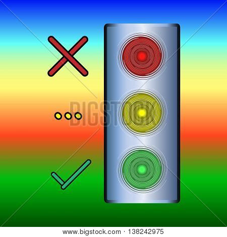 Icon of traffic lights. Bulk traffic light red - stand yellow - wait green - go light with reflections on a colored background