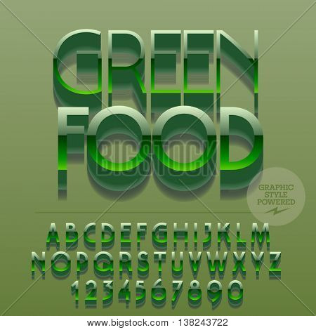 Set of glossy metallic alphabet letters, numbers and punctuation symbols. Vector reflective  sign with text Green food. File contains graphic styles