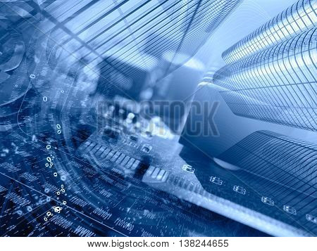 Digits buildings and device - abstract computer background in blues.