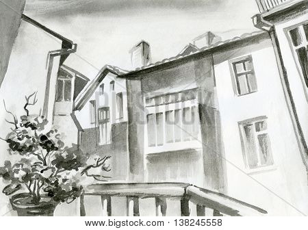 watercolor painting penciling view from the window on a beautiful building architecture flowers black-white