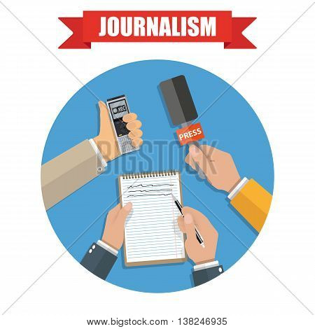 hands holding voice recorder, microphone and spiral notebook with pen in circle. Mass media and press conference concept. journalism icon. vector illustration in flat style on green background