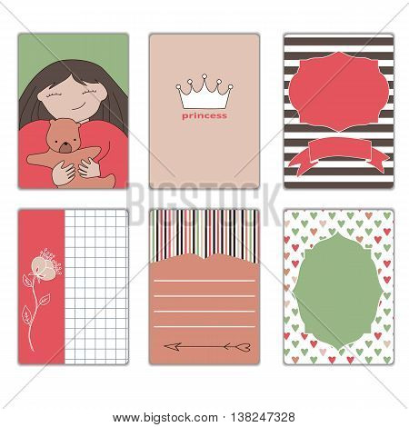 collection of cards for a princess, colorful colored illustration