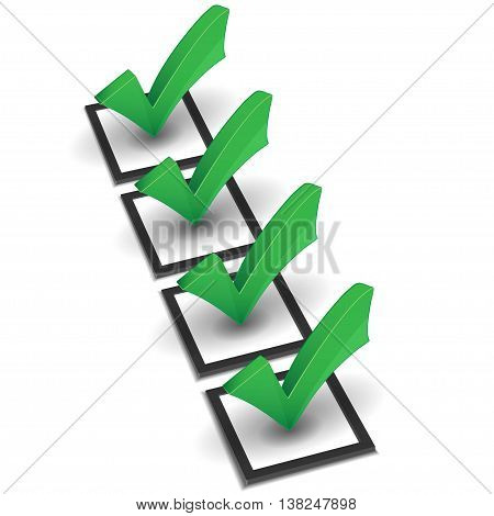 Vector check list and green check mark on white background
