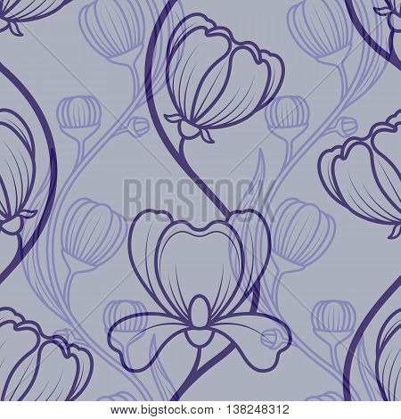 Floral blue vintage seamless background. Vector illustration