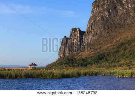 Pavilion and lake mountain at Khao Sam Roi Yot. It's marine national park in Sam Roi Yot district Prachuap Khiri Khan Province Thailand.