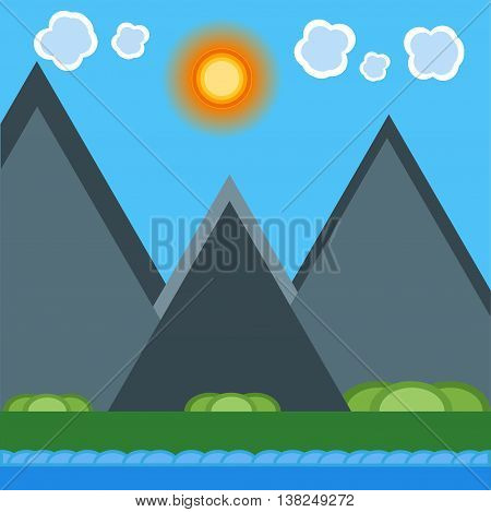 Vector summer landscape with green flowering field forest mountains and lake on blue cloudy sky background. Mountains landscape natural outdoor hill scenic. Beautiful travel mountains background.