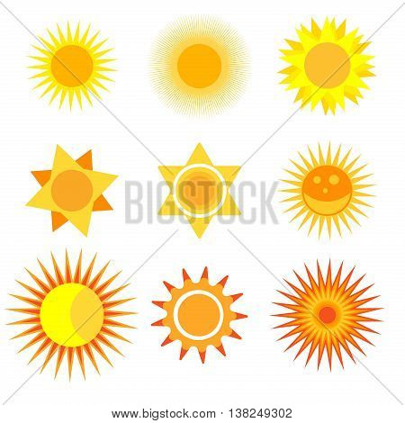 Collection of vector suns. Sunlight isolated design symbol hot nature drawing object. Sunshine weather heat sign summer yellow sunrise. Flat silhouette bright summer style sun collection.