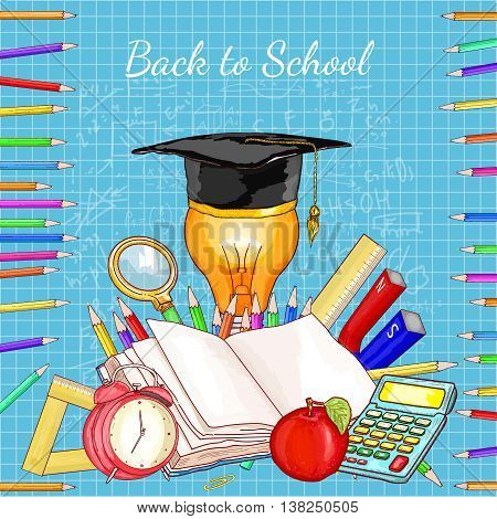 Back to school education school subjects open book vector illustration