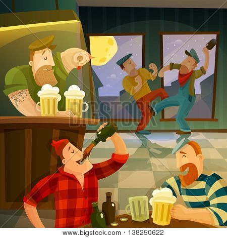 Irish pub interior with drinking and dancing people cartoon vector illustration