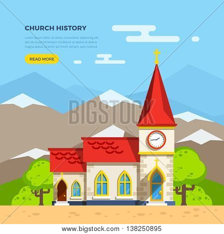 Beautiful historic church building with clock tower with trees around on background with mountains flat vector illustration