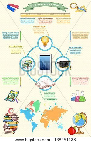 Online education infographics back to school vector
