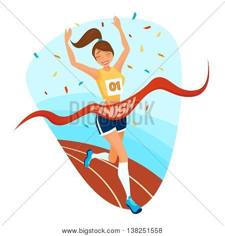 Winner girl design concept with young female athlete in sportswear running on treadmill to finishing tape flat vector illustration