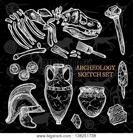 Archeology chalkboard sketch set of ancient ceramic pitchers knight helmet animal bones vector illustration