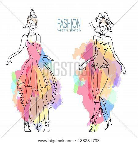 Fashion models beautiful fashionable girl sketch hand drawn vector fashion illustration