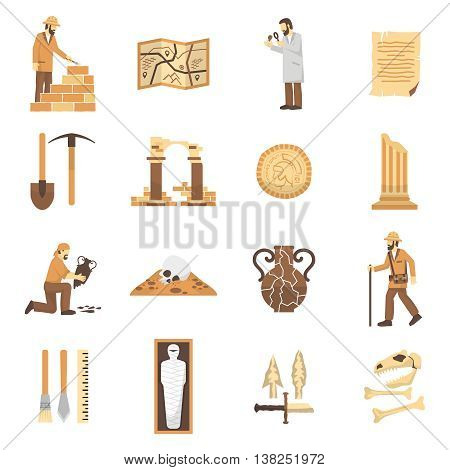 Set of color flat icons depicting archeology elements finds equipment scientist vector illustration