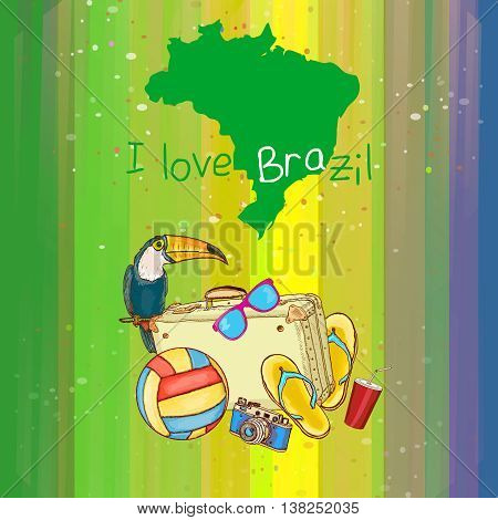 I Love Brazil poster map of brazil attractions symbols vector