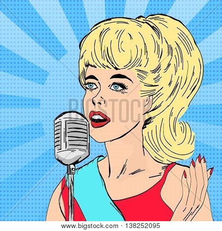 Beautiful woman singing with microphone girl on music scene pop art vector